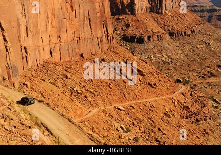 Jeep on the White Rim Trail, Moab, Utah, USA - Stock Photo
