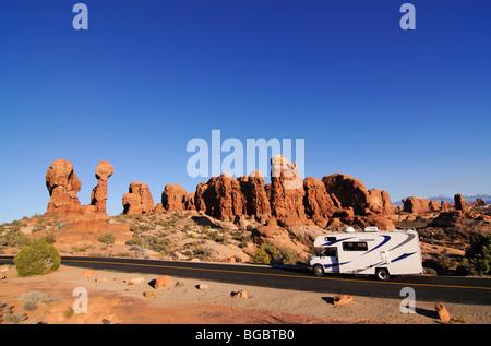 Camper, Garden of Eden, Arches National Park, Moab, Utah, USA - Stock Photo