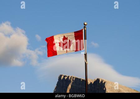 Canadian flag, Mount Rundle, Banff, Alberta, Canada - Stock Photo