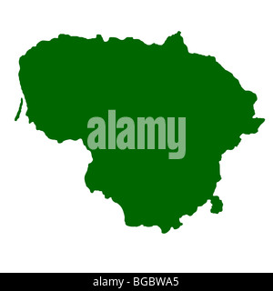 Map of Lithuania isolated on white background. - Stock Photo