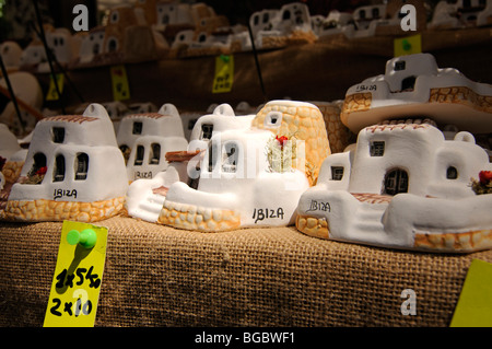 Souvenirs, hippy market, Es Cana, Punta Arabi, Ibiza, Pine Islands, Balearic Islands, Spain, Europe - Stock Photo