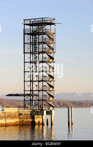 The Molenturm pier tower on the harbor promenade in Friedrichshafen, Bodenseekreis district, Baden-Wuerttemberg, - Stock Photo