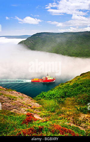 Ship entering the Narrows of St John's harbor from Signal Hill in Newfoundland Canada - Stock Photo