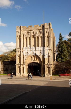 The Norman Abbey Gate at Angel Hill, Bury St Edmunds, Suffolk UK was the gateway for the Abbey Church. - Stock Photo