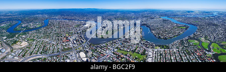 Aerial panoramic view of Brisbane Australia - Stock Photo