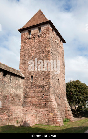 Medieval city wall and tower, Worms, Rhineland-Palatinate, Germany, Europe - Stock Photo