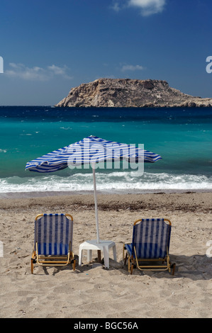 Beach in Lefkos, island of Karpathos, Aegean Islands, Aegean Sea, Greece, Europe - Stock Photo