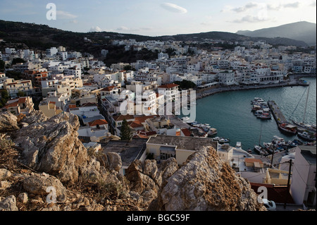 View on Pigadia, island of Karpathos, Aegean Islands, Aegean Sea, Greece, Europe - Stock Photo