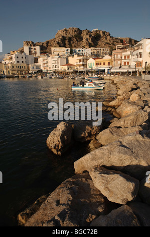 Port of Pigadia, island of Karpathos, Aegean Islands, Dodecanese, Aegean Sea, Greece, Europe - Stock Photo
