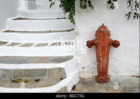 Hydrant in Piles, island of Karpathos, Aegean Islands, Dodecanese, Aegean Sea, Greece, Europe - Stock Photo