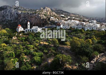 Church and village of Messochori, island of Karpathos, Aegean Islands, Dodecanese, Aegean Sea, Greece, Europe - Stock Photo