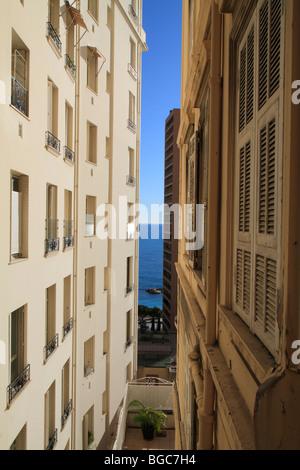 Sea view from the Boulevard des Moulins, Monaco, Cote d'Azur, Europe - Stock Photo