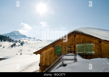 Old barn in winter, Grindelwald, Switzerland, Europe - Stock Photo