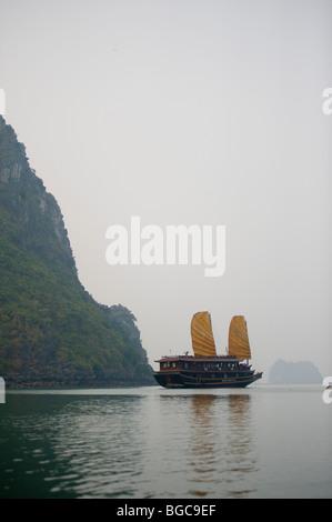 Wooden Junk in Halong Bay, Vietnam - Stock Photo