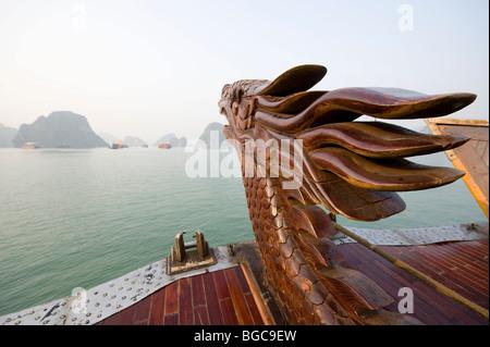 Cruising on a wooden Junk boat, Halong Bay Vietnam - Stock Photo