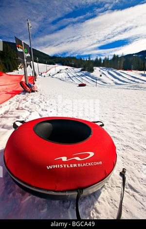 Inflated tube at the Coca-Cola Tube Park on Blackcomb Mountain, Whistler Blackcomb, Whistler, British Columbia, - Stock Photo