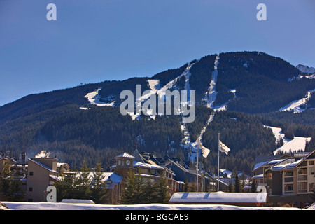 View of Whistler Mountain (2182 metres/7160 feet) and Whistler Village seen from the Summit Lodge, Whistler Village, - Stock Photo