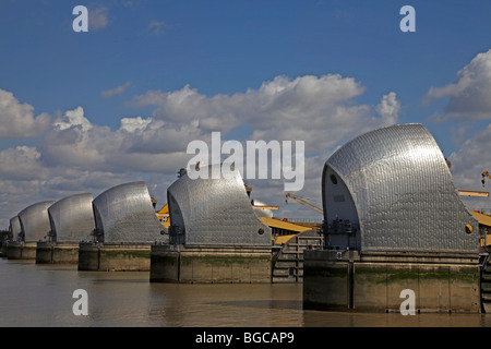The Thames Barrier at Woolwich, London, England - Stock Photo