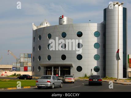 Ajman Ports and Customs building, Ajman, Emirate of Ajman, United Arab Emirates - Stock Photo