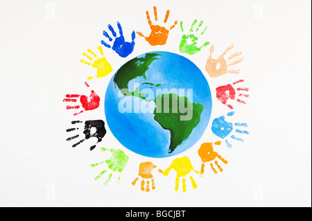 Multicoloured children's hand prints around the world - Stock Photo