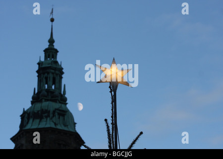 Silhouette of the Kronborg Castle in Helsingør (in English also known as Elsinore) on the island of Zealand Denmark - Stock Photo