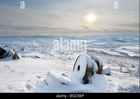 Abandoned Millstones in Winter Snow under ' Stanage Edge' in the 'Peak District', Derbyshire, United Kingdom, Great - Stock Photo