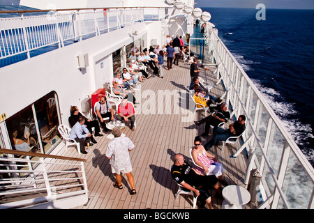 Passengers on a ferry Brittany Ferries - Stock Photo