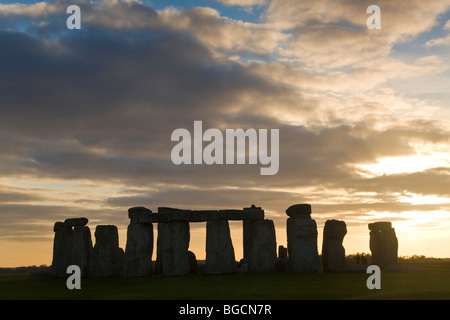 Stonehenge, Wiltshire, UK at sunset - Stock Photo