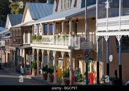 Well-preserved buildings on Main Street in gold mining town of Sutter Creek on Old Highway 49, Amador County, California, - Stock Photo