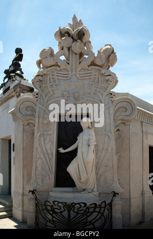 The elaborate tomb of Rufina Cambaceres,  Recoleta Cemetery, Buenos Aires, Argentina - Stock Photo