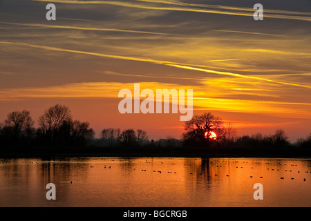 Sun sets over Startop Reservoir,richly coloured sky,trees in silhouette,warm glow reflected off calm water - Stock Photo