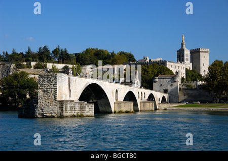 View of the Pont d'Avignon or St-Bénézet, Cathedral Notre-Dame-des-Doms & Palais des Papes from Across the River - Stock Photo