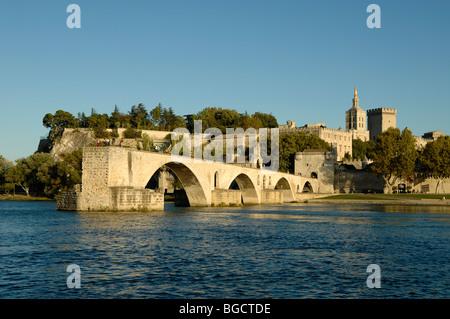 Le Pont d'Avignon or Saint Bénézet Bridge on River Rhone with Palais des Papes or Popes Palace Behind, Provence, - Stock Photo