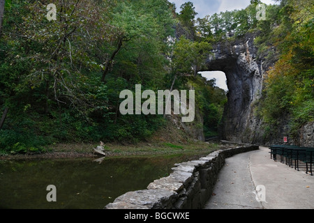 Natural Bridge tunnel in Virginia in early autumn landscape ancient no not people nobody isolated - Stock Photo