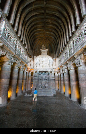 Buddhist Cave Number 26 in Ajanta in India