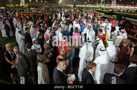 The participants of the Dubai World Cup in the show ring, Dubai, United Arab Emirates - Stock Photo
