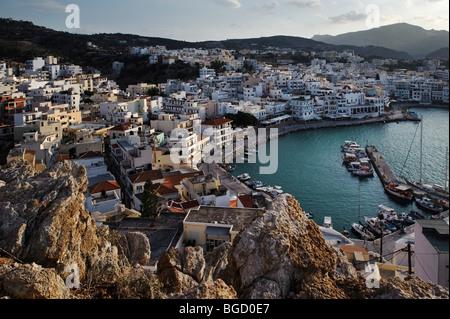 View on Pigadia, island of Karpathos, Aegean Islands, Aegean Sea, Greece, Europe - Stock Photo