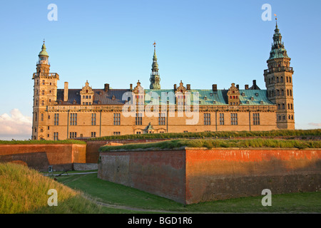 The renaissance castle Kronborg in Elsinore, Denmark, in the evening sun one light Nordic summer night. - Stock Photo