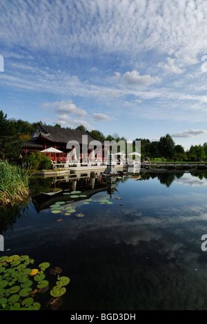 Berlin. Germany. Chinese Pavilion and Tea Room at the Gardens of the World (Garten der Welt) Recreation Park in - Stock Photo