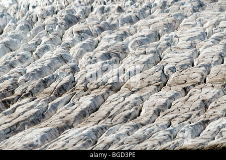 Glacial structures, Aletsch Glacier, Bernese Alps, Valais, Switzerland, Europe - Stock Photo