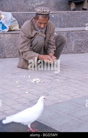 Muslim Uighur man feeding a pigeon - Stock Photo