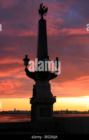 Lantern of the Trinity Bridge in Saint Petersburg, Russia - Stock Photo
