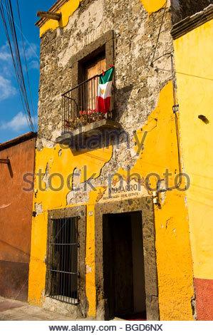 Building facade, San Miguel de Allende, Mexico - Stock Photo