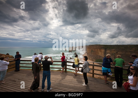 Tourists on board walk at the Twelve Apostles. South West Victoria, Australia. - Stock Photo