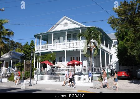 Houses in Duval Street, Key West, Florida Keys USA - Stock Photo
