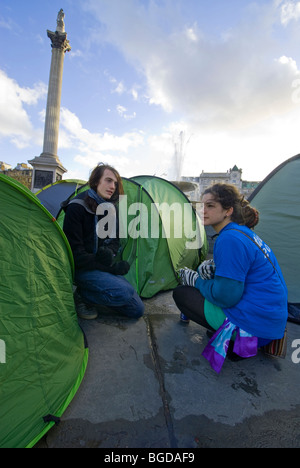 Climate Camp in Trafalgar Square remained for the duration of the COP15 talks in Copenhagen. - Stock Photo
