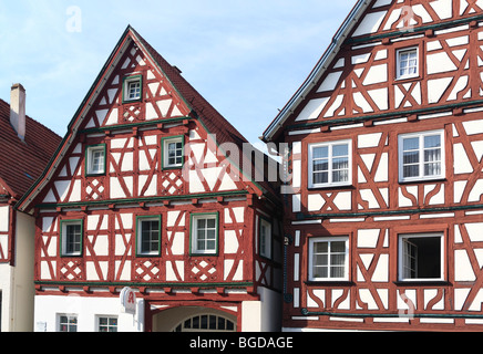 Gabled houses, Marktstrasse, Trochtelfingen, Swabian Alb region, Baden-Wuerttemberg, Germany, Europe - Stock Photo