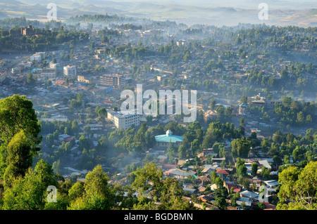 Smoke and fog covering Gonder, Gondar, Amhara, Ethiopia, Africa - Stock Photo