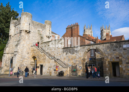 Bootham Bar, gate and wall with York Minster in the back, York, Yorkshire, England, United Kingdom, Europe - Stock Photo