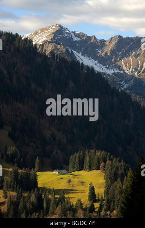Mountain pasture, alpine hut on meadow with snow-covered mountain peaks, Hindelang, Allgaeu, Bavaria, Germany, Europe - Stock Photo